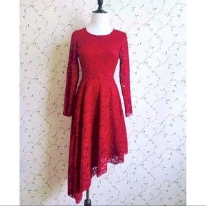 💃 Asymmetric Lace Midi Dress